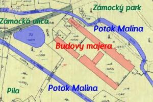 Pálffyovský majer pri zámockom parku v Malackách, mapa z roku 1914