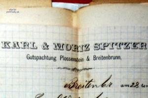 Spoločný hlavičkový papier Karola a Mórica Spitzerovcov z roku 1882