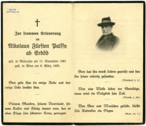 Oznámenie o úmrtí Mikuláša XIII. Pálffyho