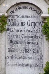 Detail náhrobku Kalista Orgoňa na starom cintoríne v Malackách.