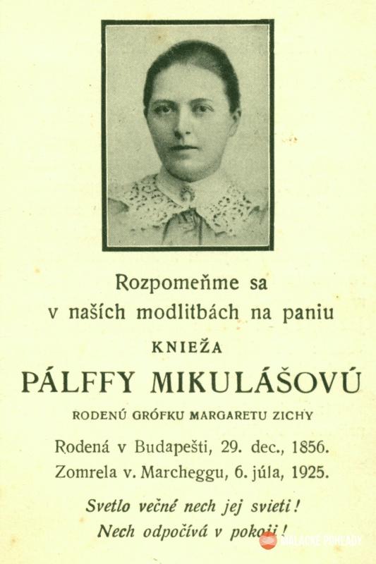 Parte kňažnej Margity Pálffy bolo vytlačené aj v slovenčine.