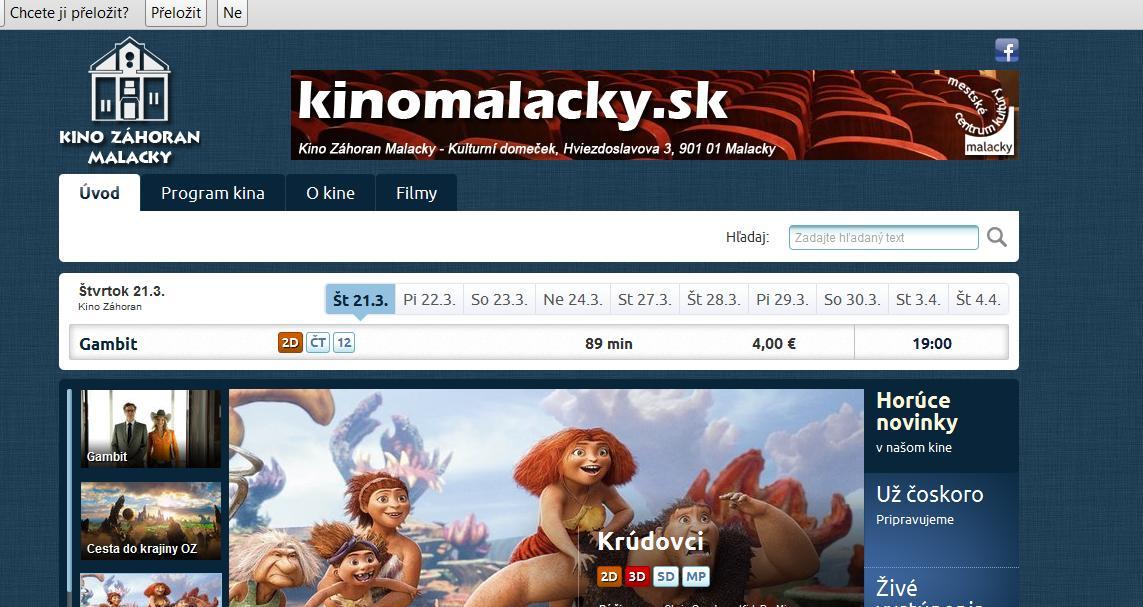 Kino Záhoran má novú webstránku