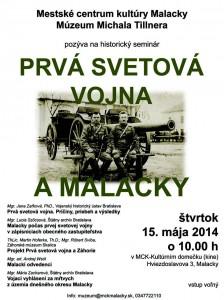 Seminár Prvá svetová vojna a Malacky