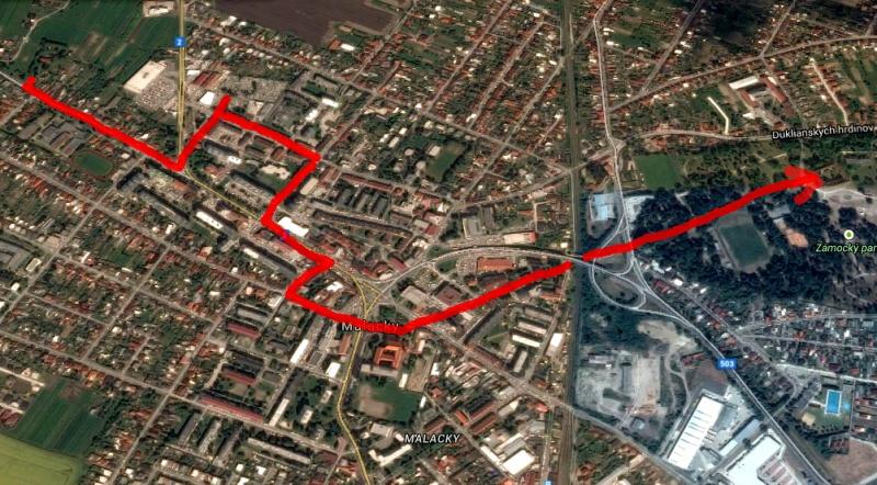 Trasa historických potuliek Malackami v roku 2014