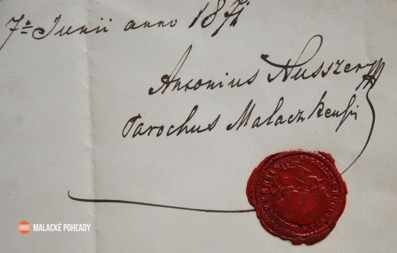 Podpis Antona Nusszera s pečaťou malackej farnosti na dokumente z roku 1871