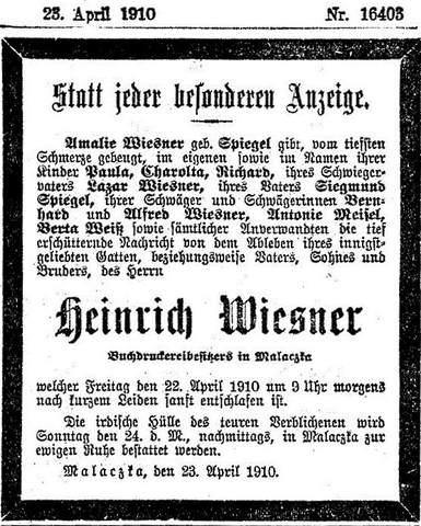Heinrich Wiesner, Malacky