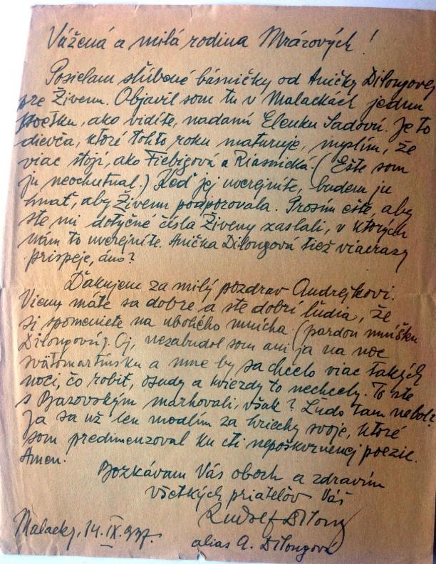 List Rudolfa Dilonga Mrázovcom