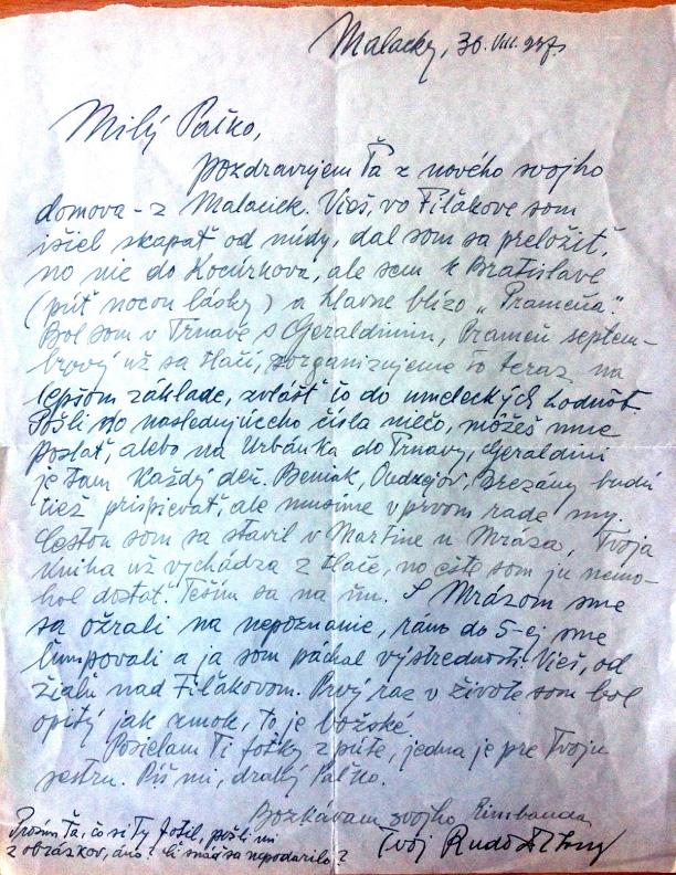 Rudolf Dilong píše Pavlovi Gašparovičovi Hlbinovi