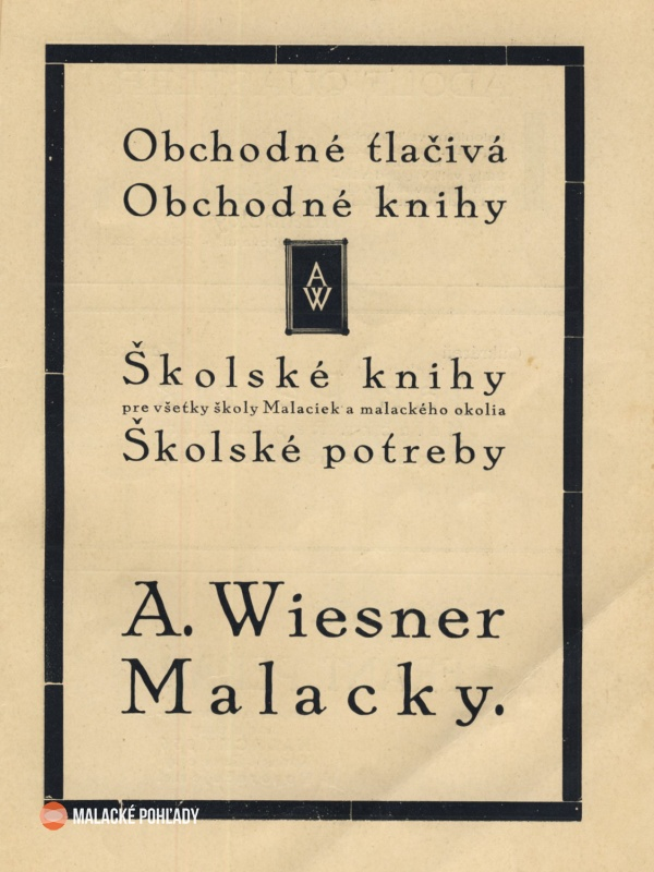 Reklama A. Wiesner Malacky