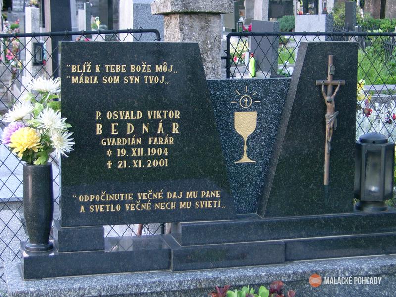 Osvald Bednár, náhrobok na malackom cintoríne